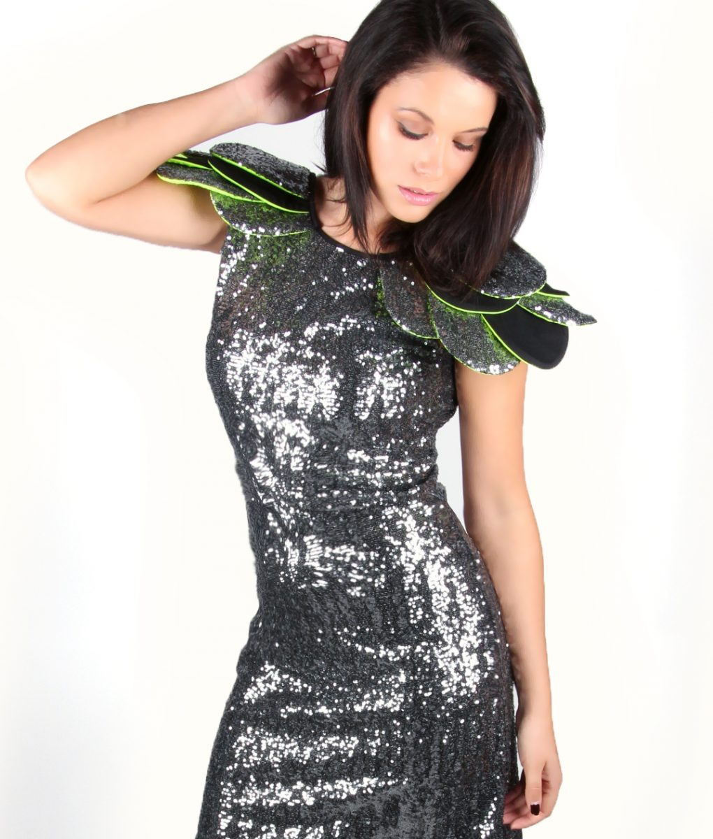 Grey sequin party dress with layered shoulder detail – Alila 3