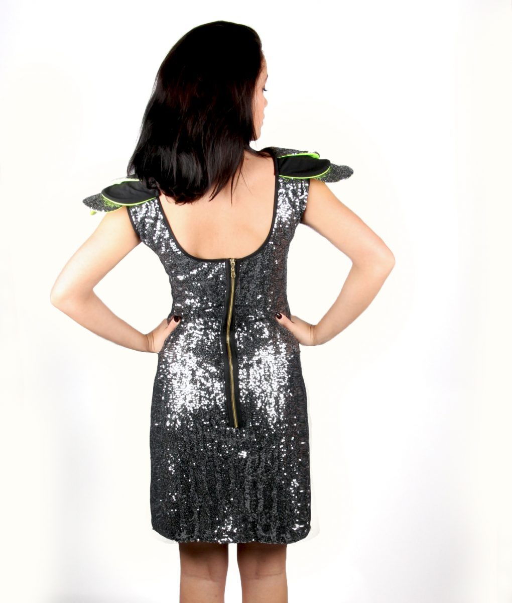 Grey sequin party dress with layered shoulder detail – Alila 4