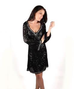 Lotus Black Sequin Long sleeve v-neck dress crystal embellishment - Alila