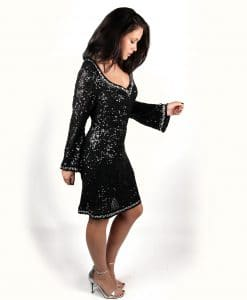 Lotus Black Sequin Long sleeve v-neck dress with crystal embellishment - Alila