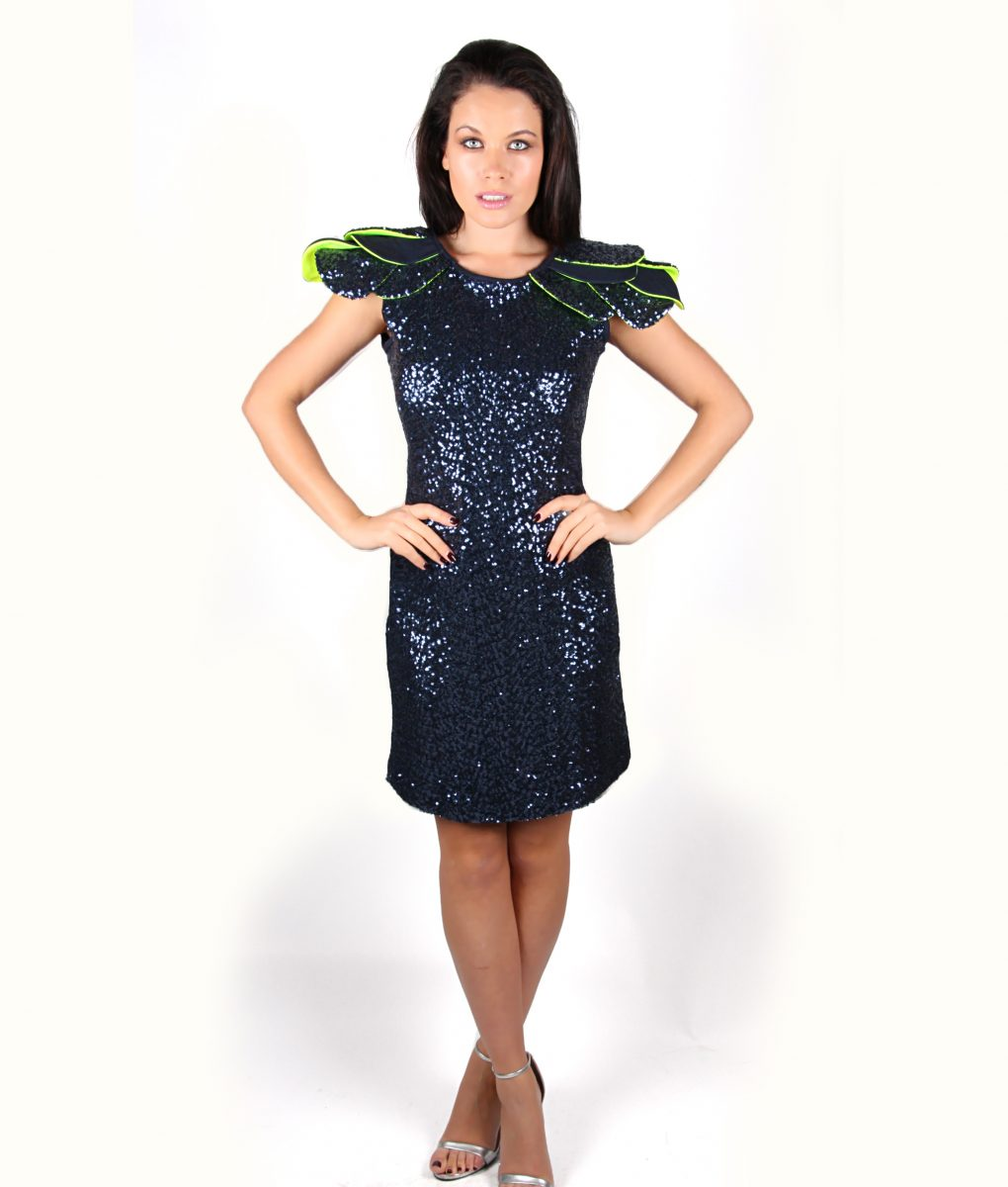 Navy sequin party dress with layered shoulder detail - Alila