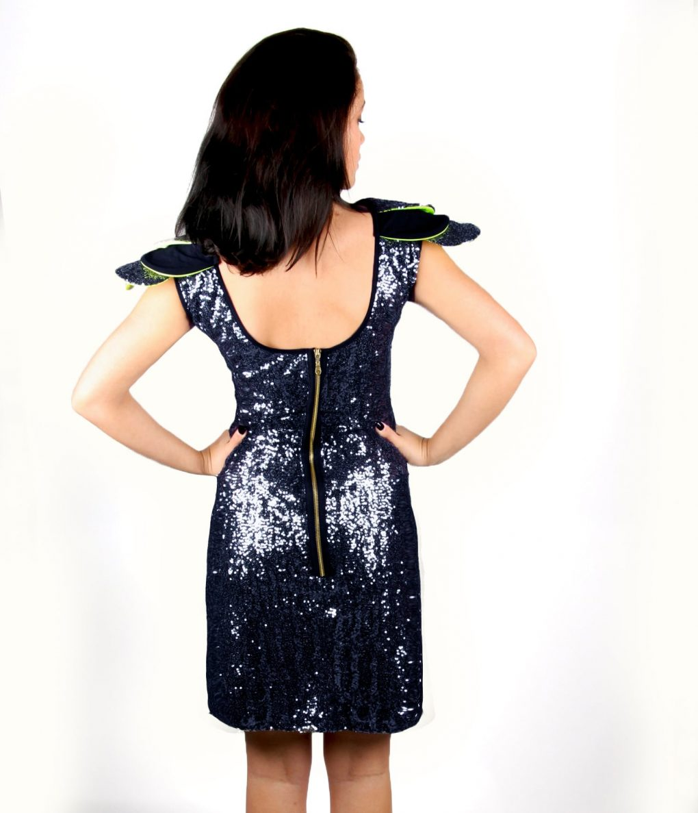 Navy sequin party dress with layered shoulder detail - Alila 4