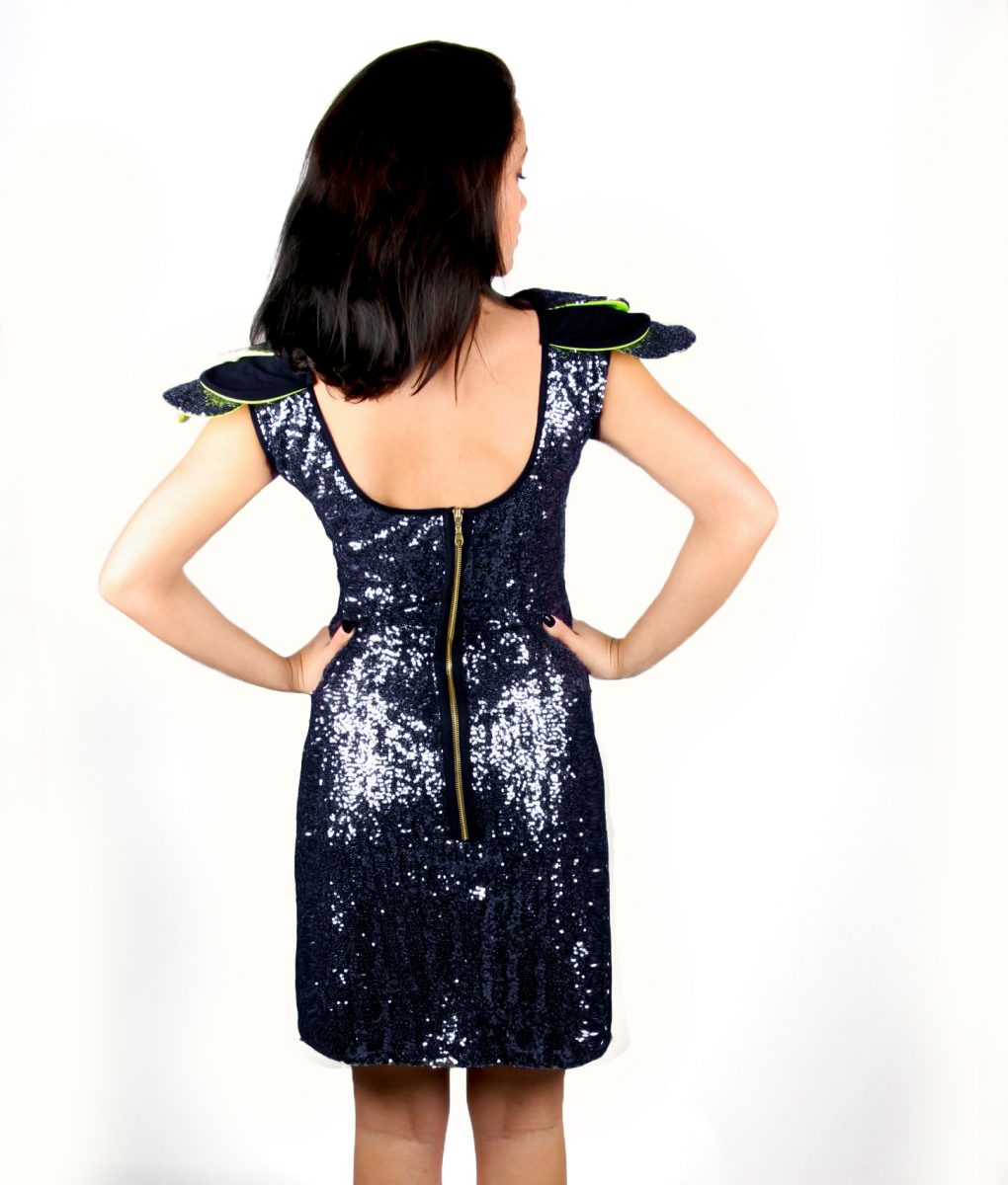 Navy sequin party dress with layered shoulder detail – Alila 4