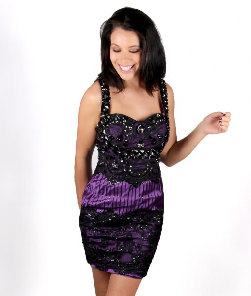 Purple and black lace low back cocktail party dress