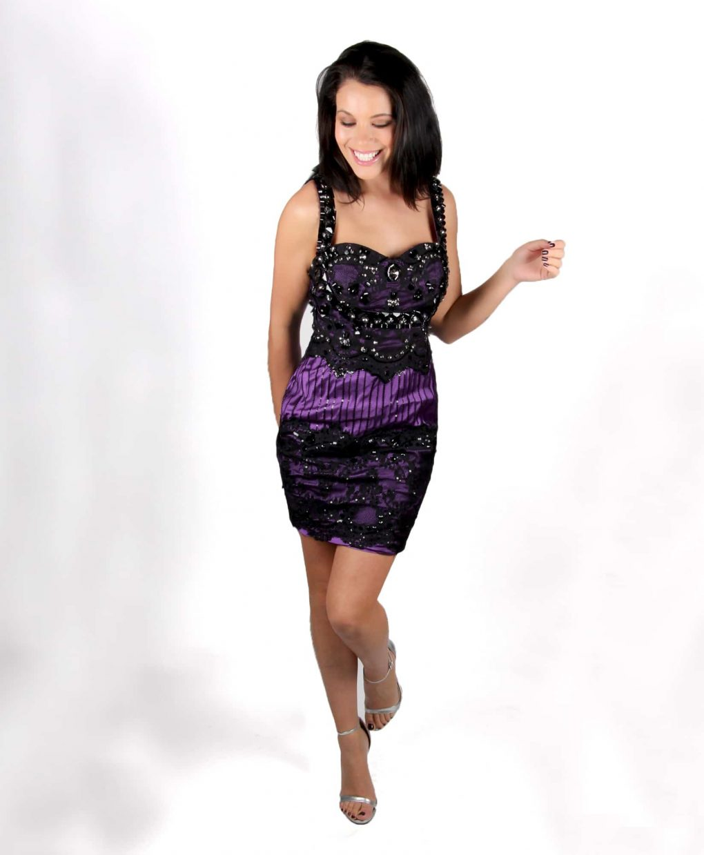 Purple and black lace low back cocktail party dress by Musani - Alila