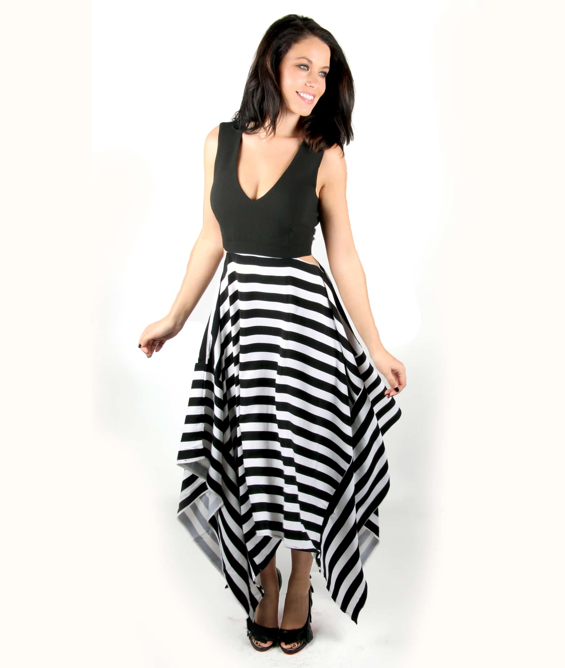 e9ad482ef82c7 Striped Maxi V-neck Dress with Cut Out Sides | Party Dresses | Alila.ie