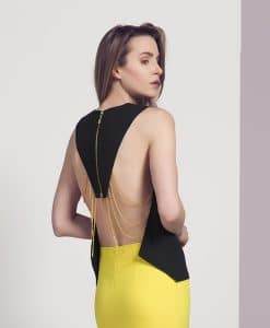 Explosion black and gold chain backless top front