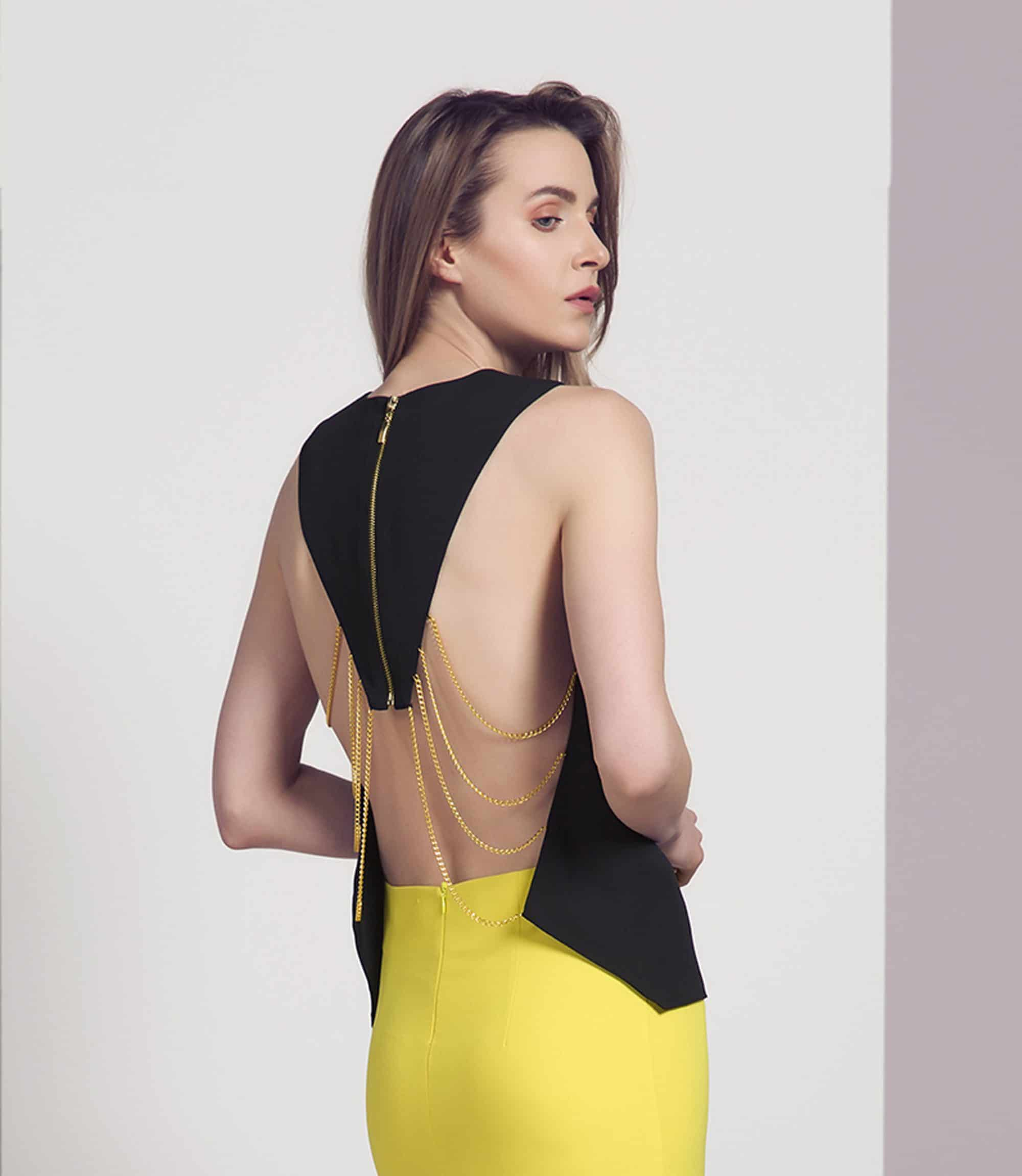 Black and Gold Chain Backless Top
