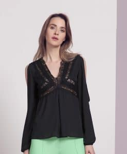 Explosion black lace long sleeve chiffon top
