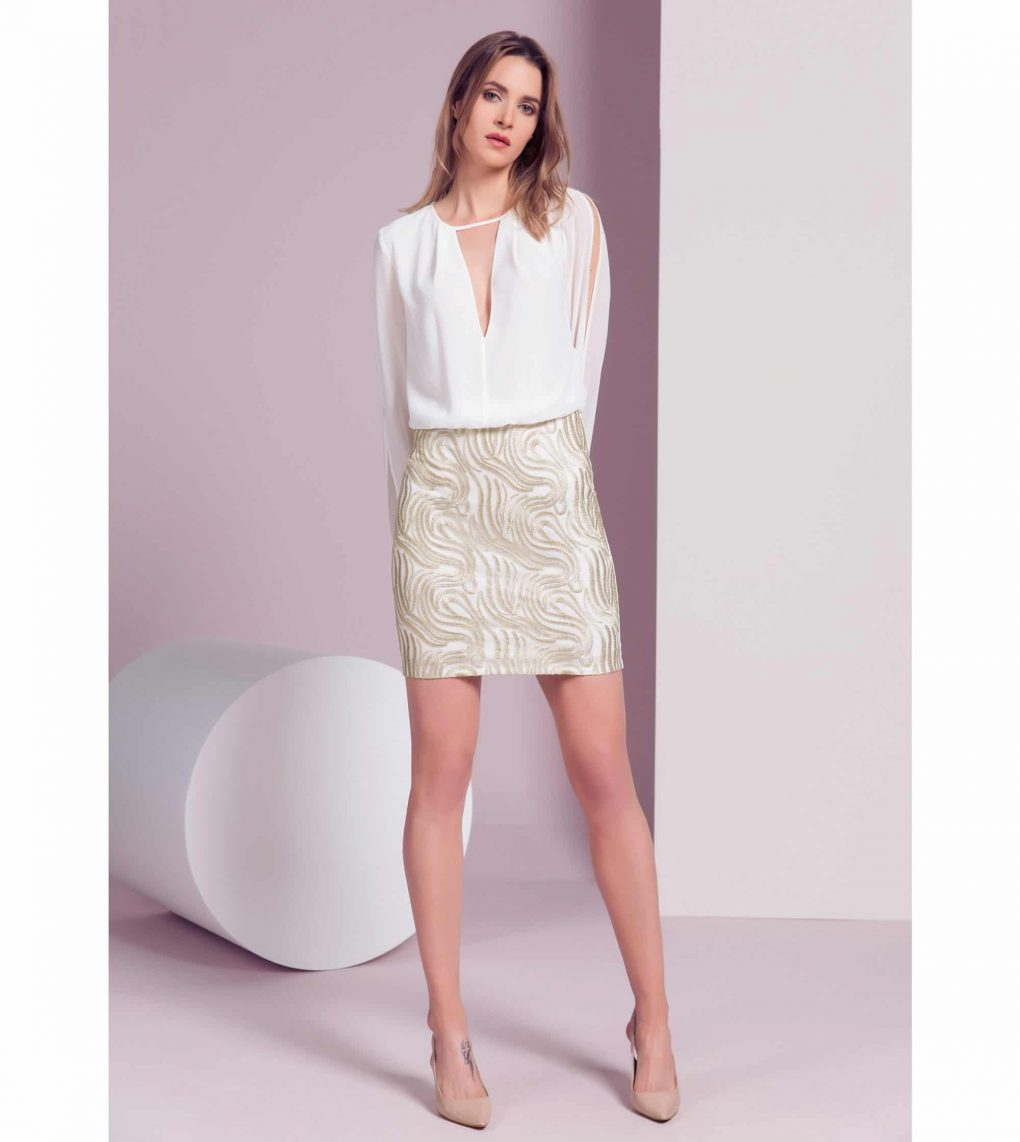 Alila Boutique Ivory Gold Bodycon Dress by Explosion.