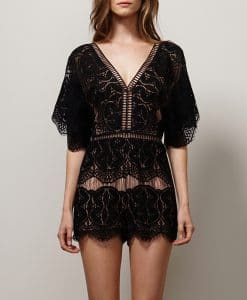 Black Lace Playsuit by Adelyn Rae