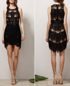 Black Lace Detailed Fitted Dress by Adelyn Rae