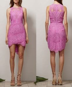 Adelyn Rae Lilac Lace Detail Fitted Dress
