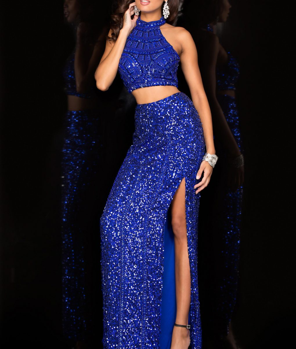 Alila Boutique Blue Sequin Two Piece Gown by Scala.