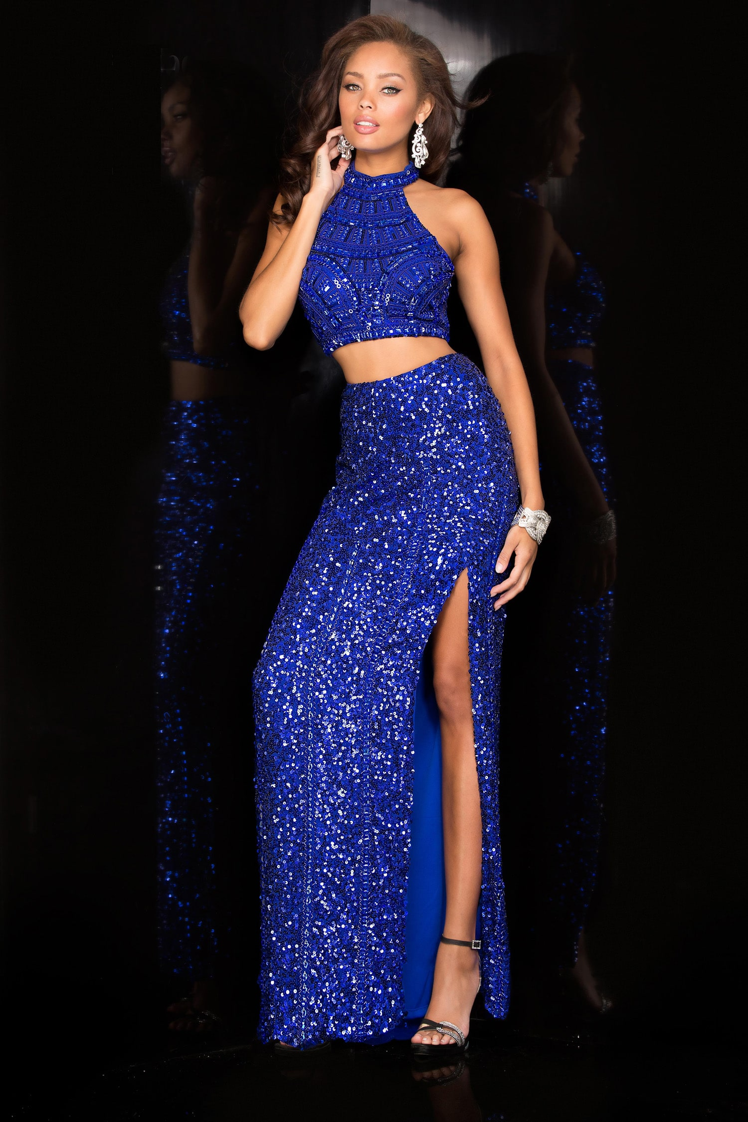 Scala Royal Blue Sequin Bejewelled Two Piece