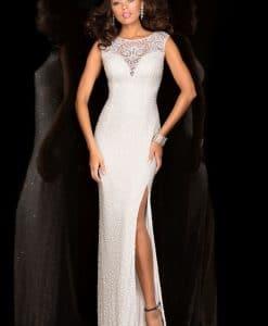 Scala Ivory Sequin Beaded Slit Dress