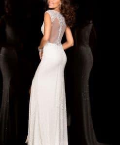 Scala 48556 IVORY sequin beaded dress Alila back