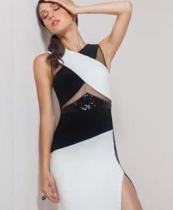 Mignon Black & White Satin & Jersey Sequin Slit Dress