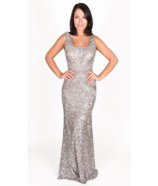 Alila Boutique Silver Sequin Gown by Scala