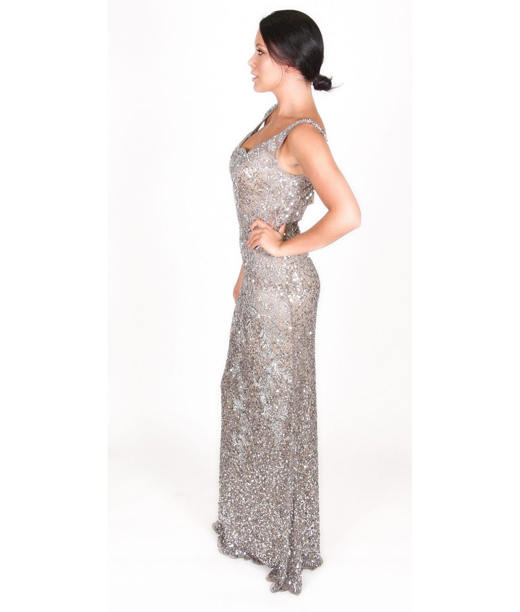 Alila Boutique Silver Sequin Gown by Scala.