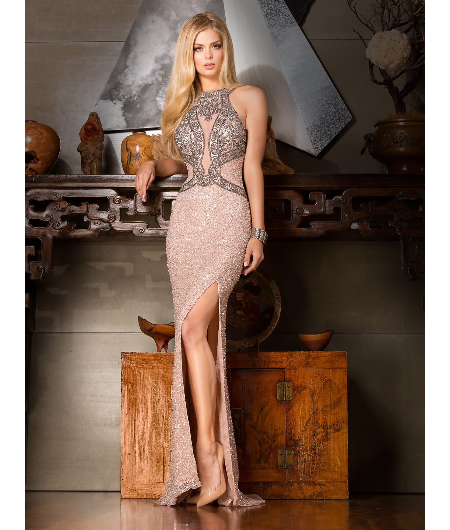 Scala Rose Sequin Gown - Alila