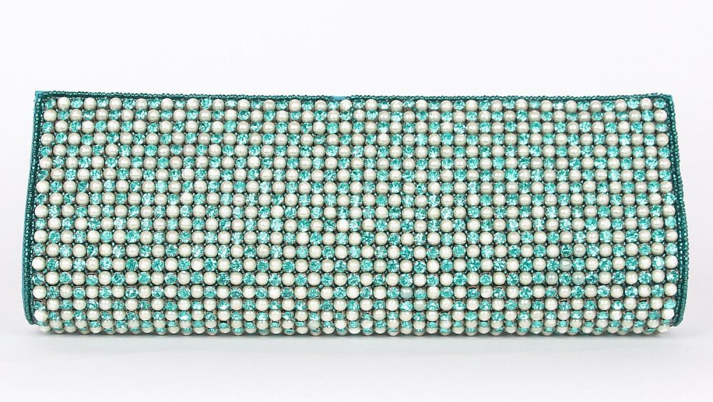 Alila Turquoise Crystal and Pearl Clutch