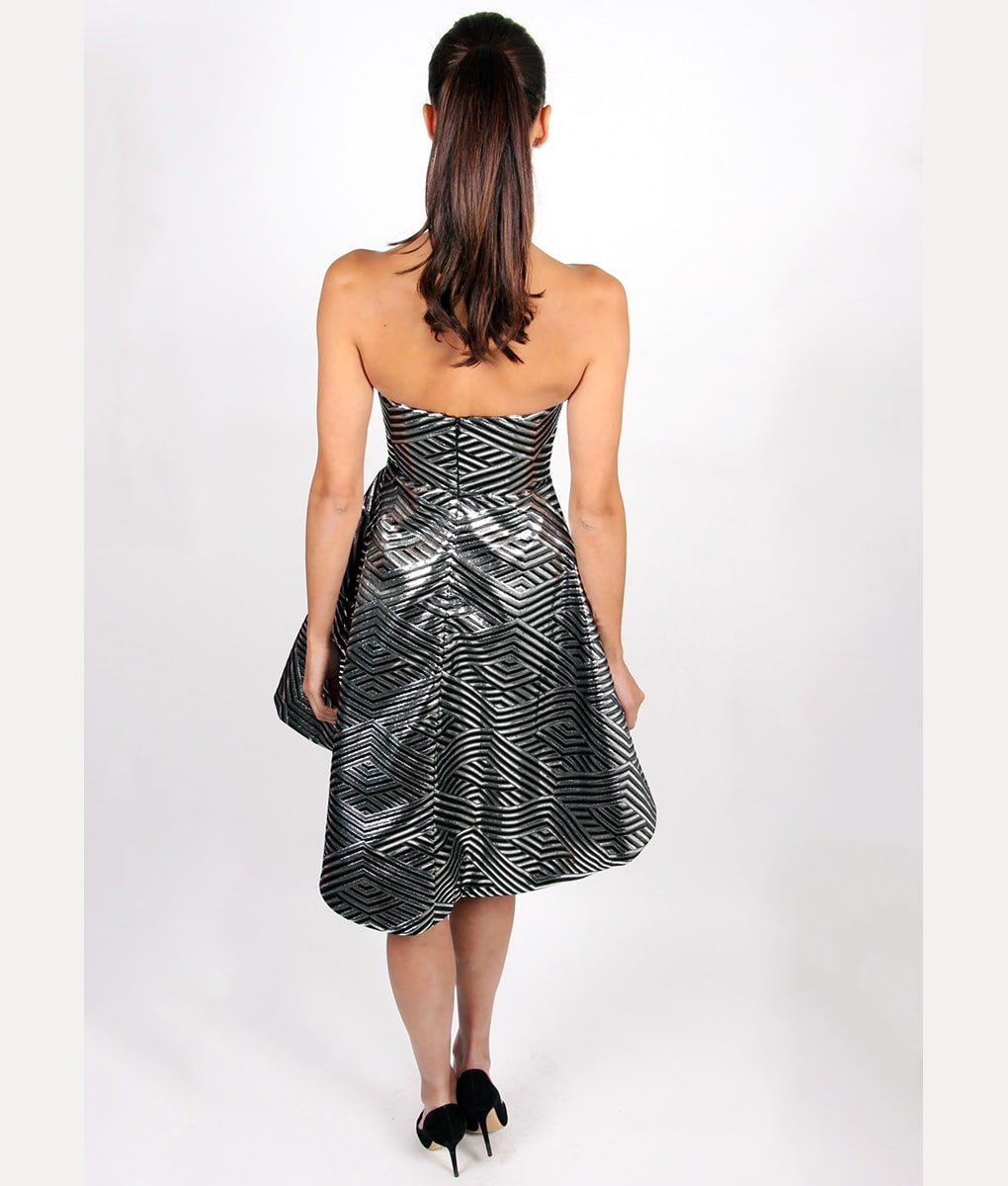 Alila Black & Silver Strapless Dress by Lumier by Bariano
