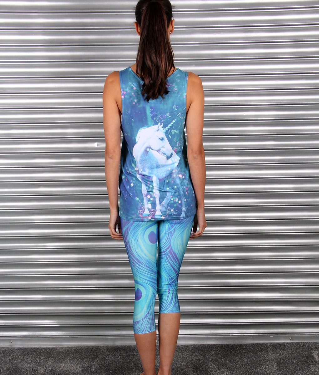 Alila Active Peacock Print Capris and Blue Unicorn top by Mr Gugu
