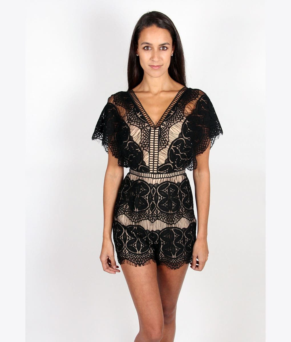Alila Boutique Black Lace Playsuit