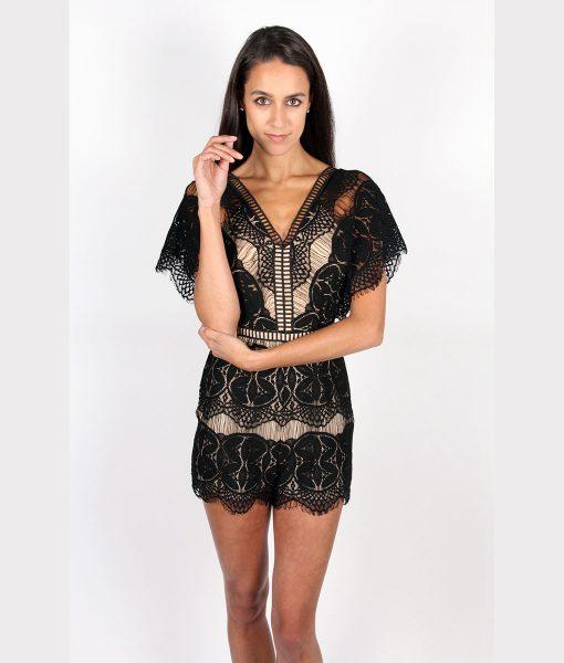 Alila Boutique Black Lace Playsuit.