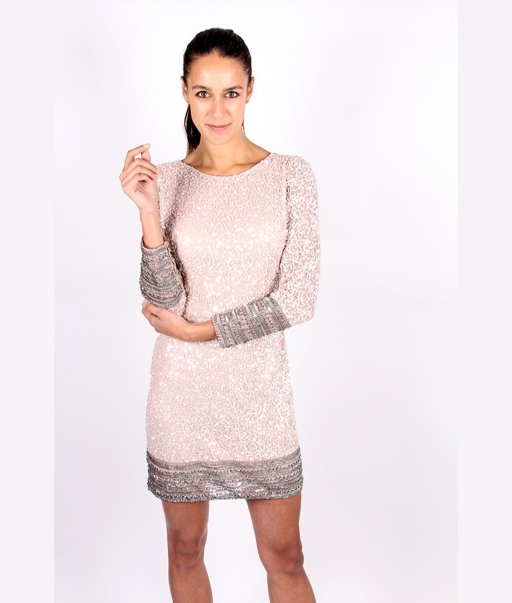 Alila Blush Pink Long Sleeve Sequin Dress by Scala