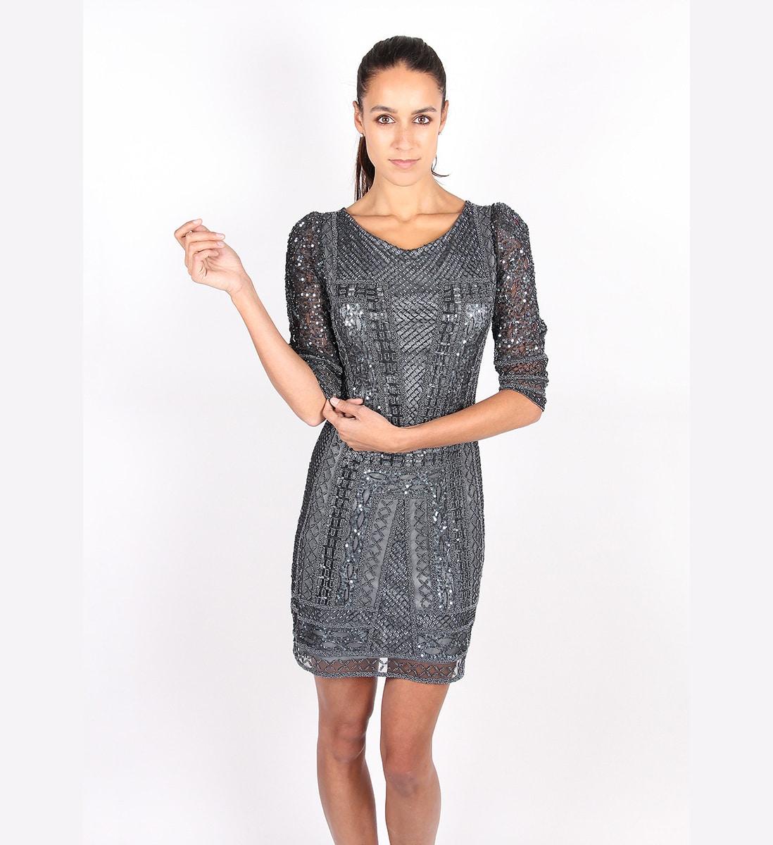 469cca3d791b Alila Charcoal Long Sleeve Sequin Dress by Scala
