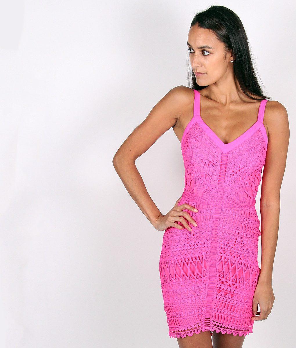 Alila Fuchsia Crochet Fitted Dress by Adelyn Rae