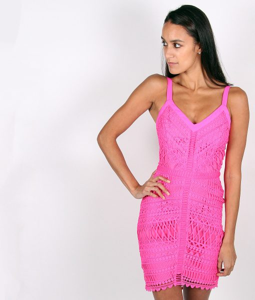 Alila Fuchsia Crochet Fitted Dress by Adelyn Rae