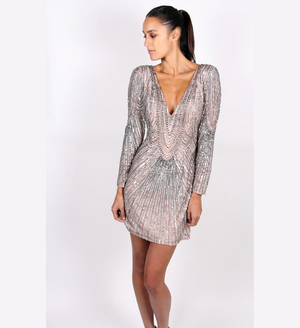 Alila Metallic Sequin Long Sleeve dress By Scala