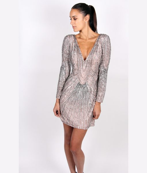 Alila Metallic Sequin Long Sleeve dress By Scala