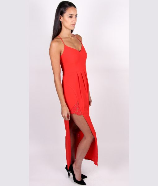 Alila Red Full Length Dress with lace detail By Lumier by Bariano