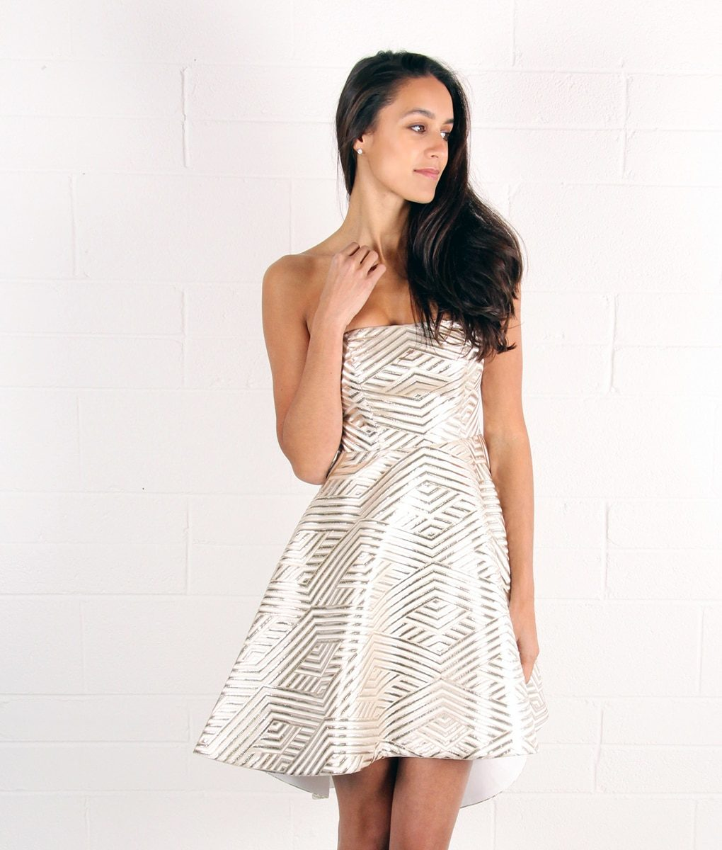 Alila White and Gold Strapless Dress by Lumier by Bariano