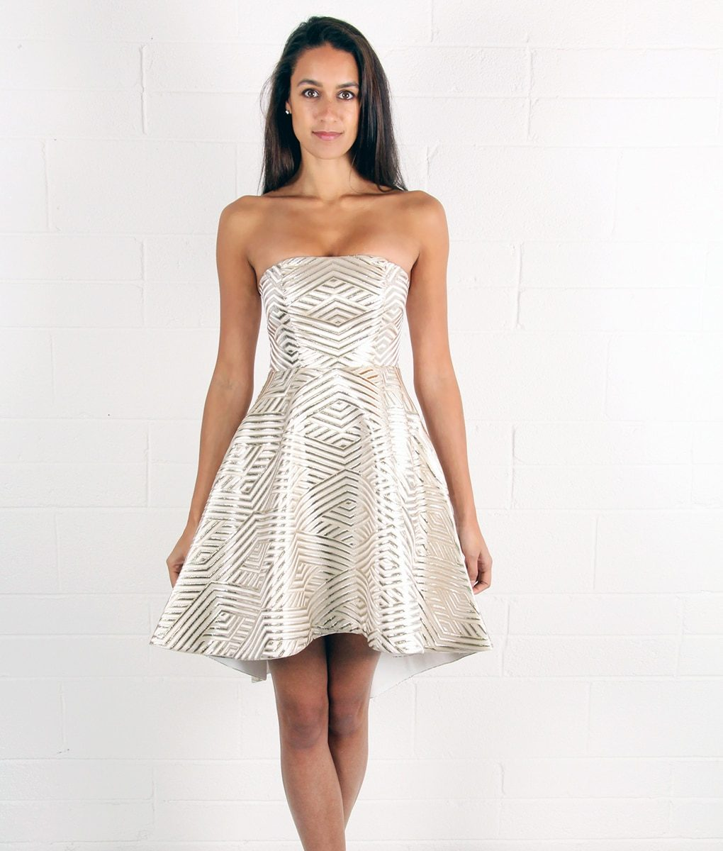 b886855c2fa1 Alila White and Gold Strapless Dress by Lumier by Bariano