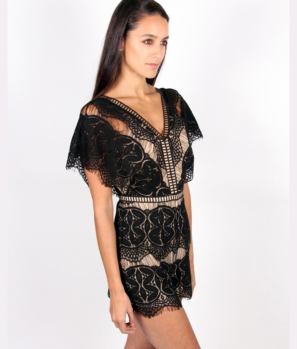 Alila Boutique Black Lace Playsuit.