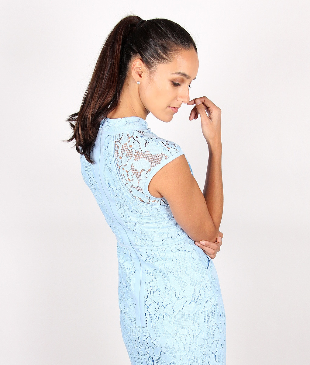 Lumier By Bariano Powder Blue Lace Dress - Alila