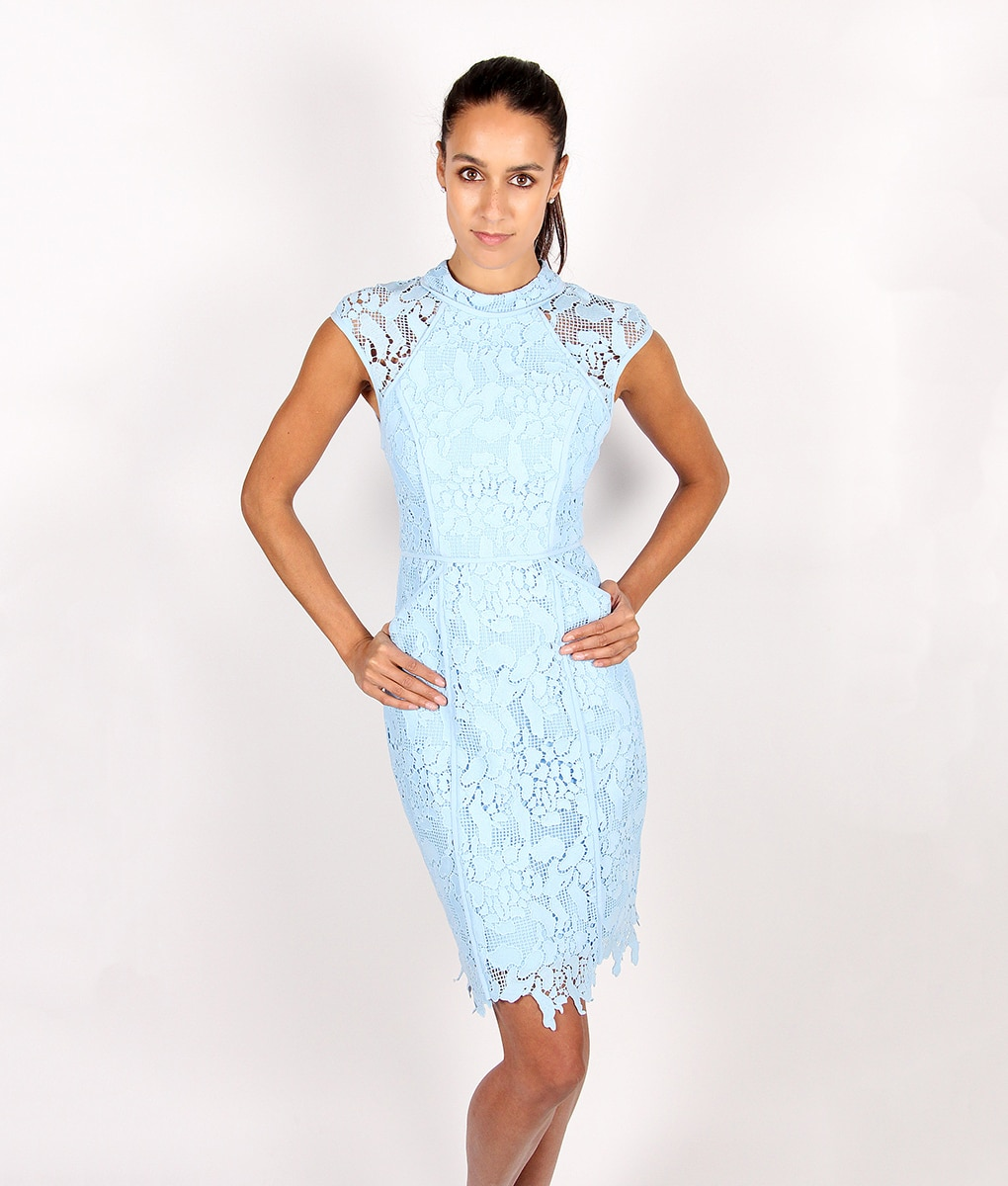 Lumier By Bariano Powder Blue Lace Dress Alila