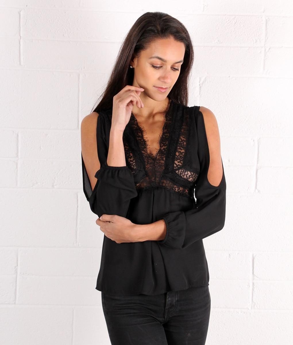 9626d2a6dd5 Black Lace Boho style V neck Blouse - Alila