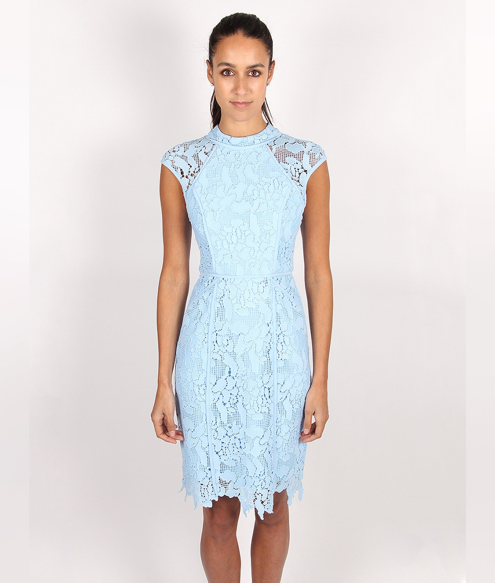 Lumier by bariano powder blue lace dress alila for Light blue dress for wedding