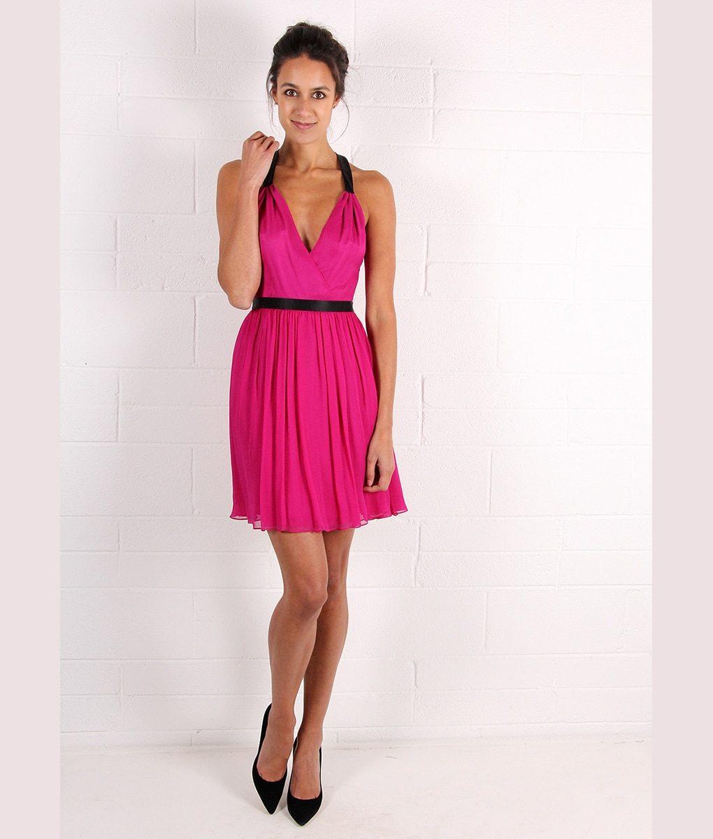 Alila-Magenta-Chiffon-Dress-with-bow-back-by-Jay-Godfrey