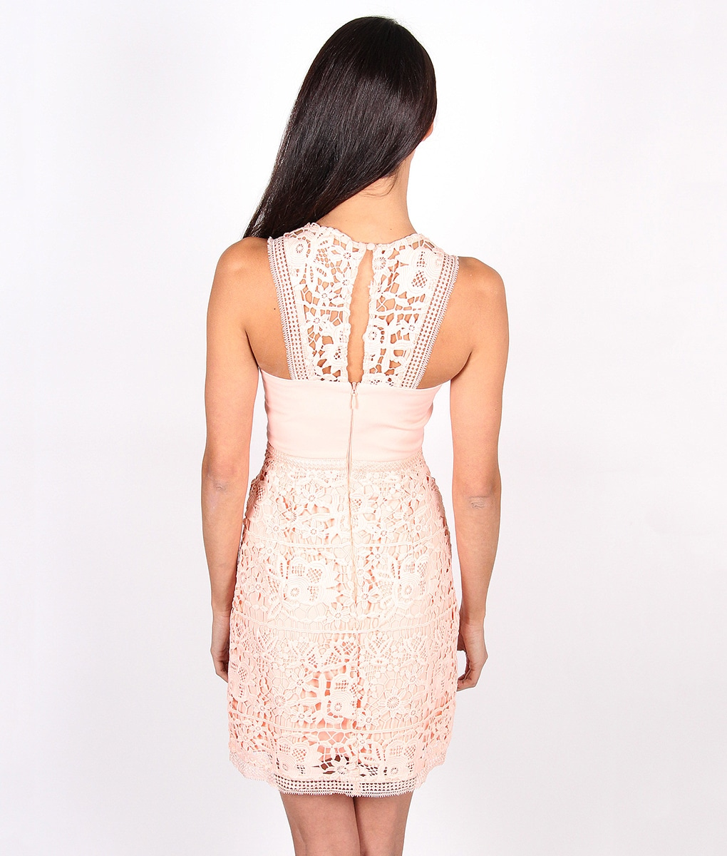 Alila-Peach-Lace-Dress-for-wedding-by-Lumier-by-Bariano-back