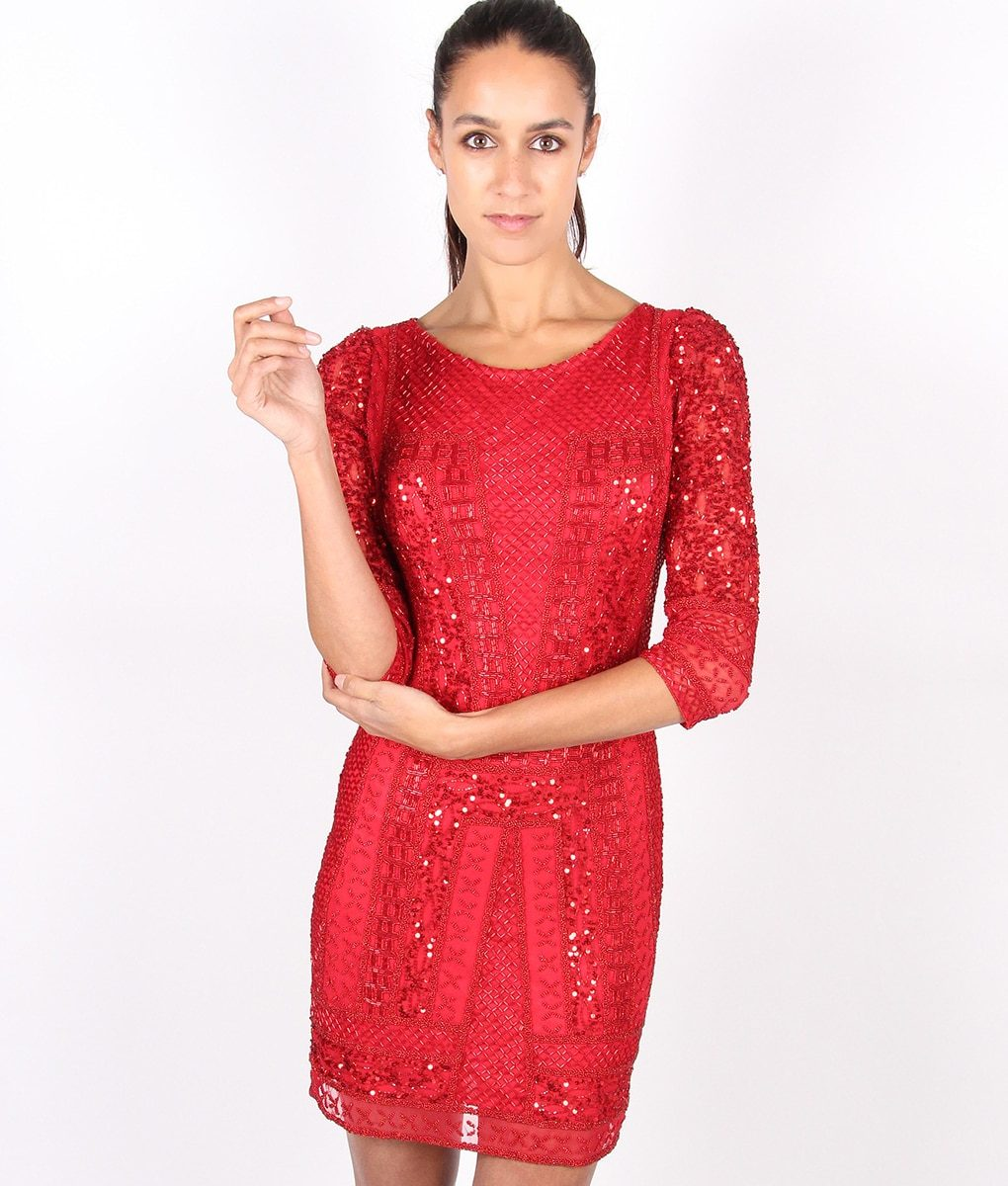 Alila-Red-Long-sleeve-Beaded-dress-by-Scala