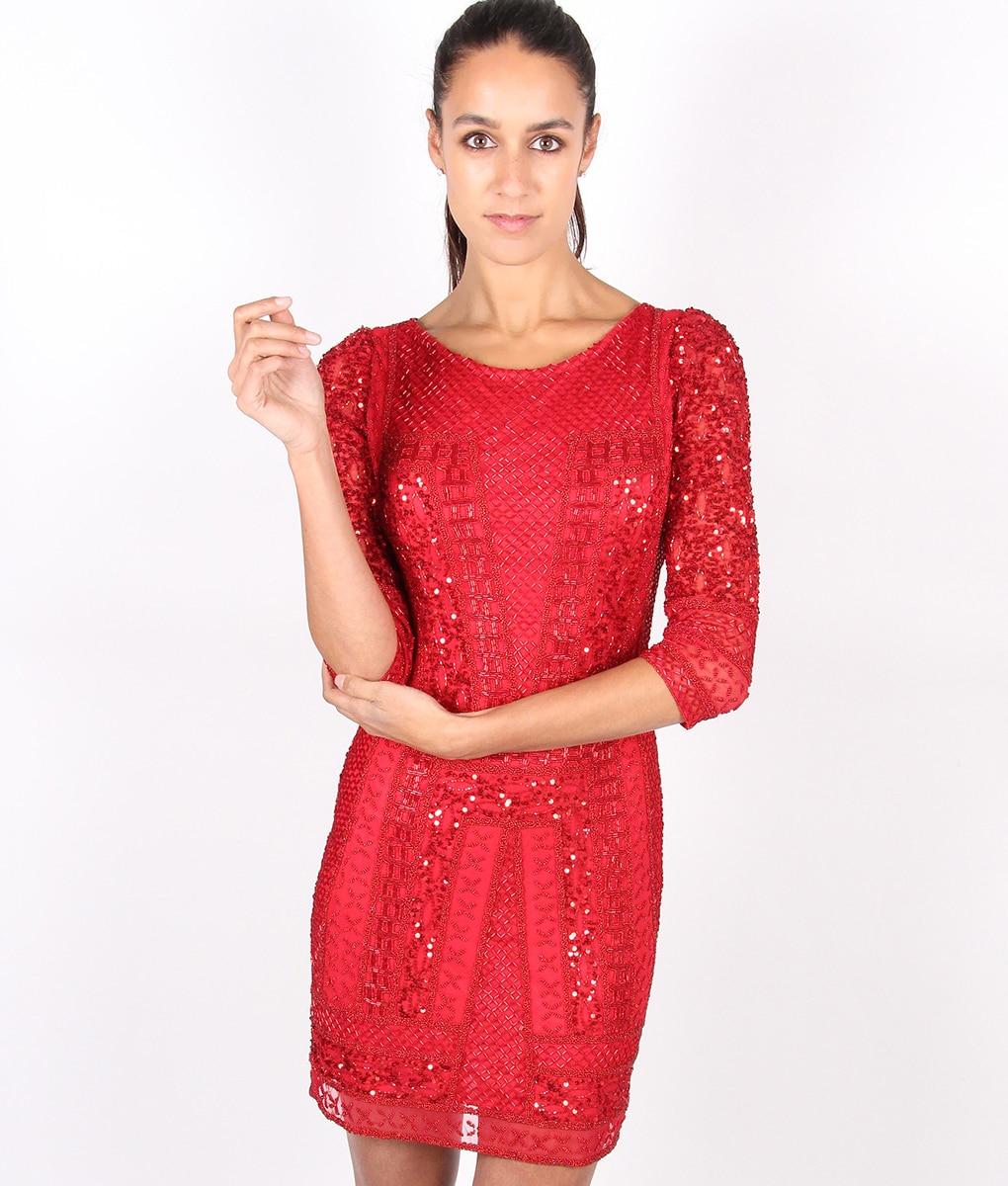 Alila-Red-Long-sleeve-Beaded-dress-by-Scala
