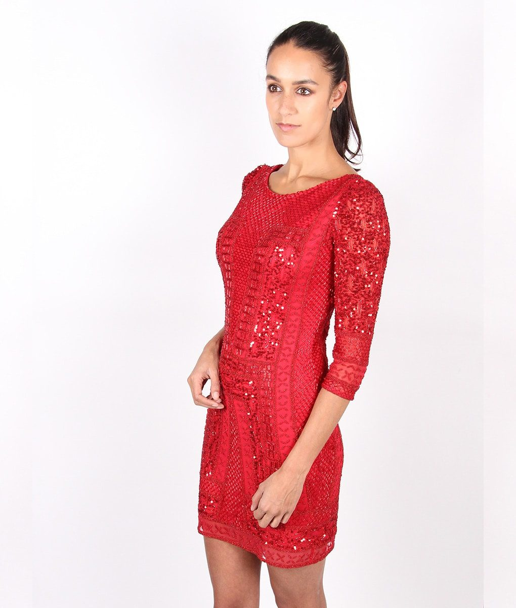 Scala Long Sleeved Red Sequin Dress - Alila