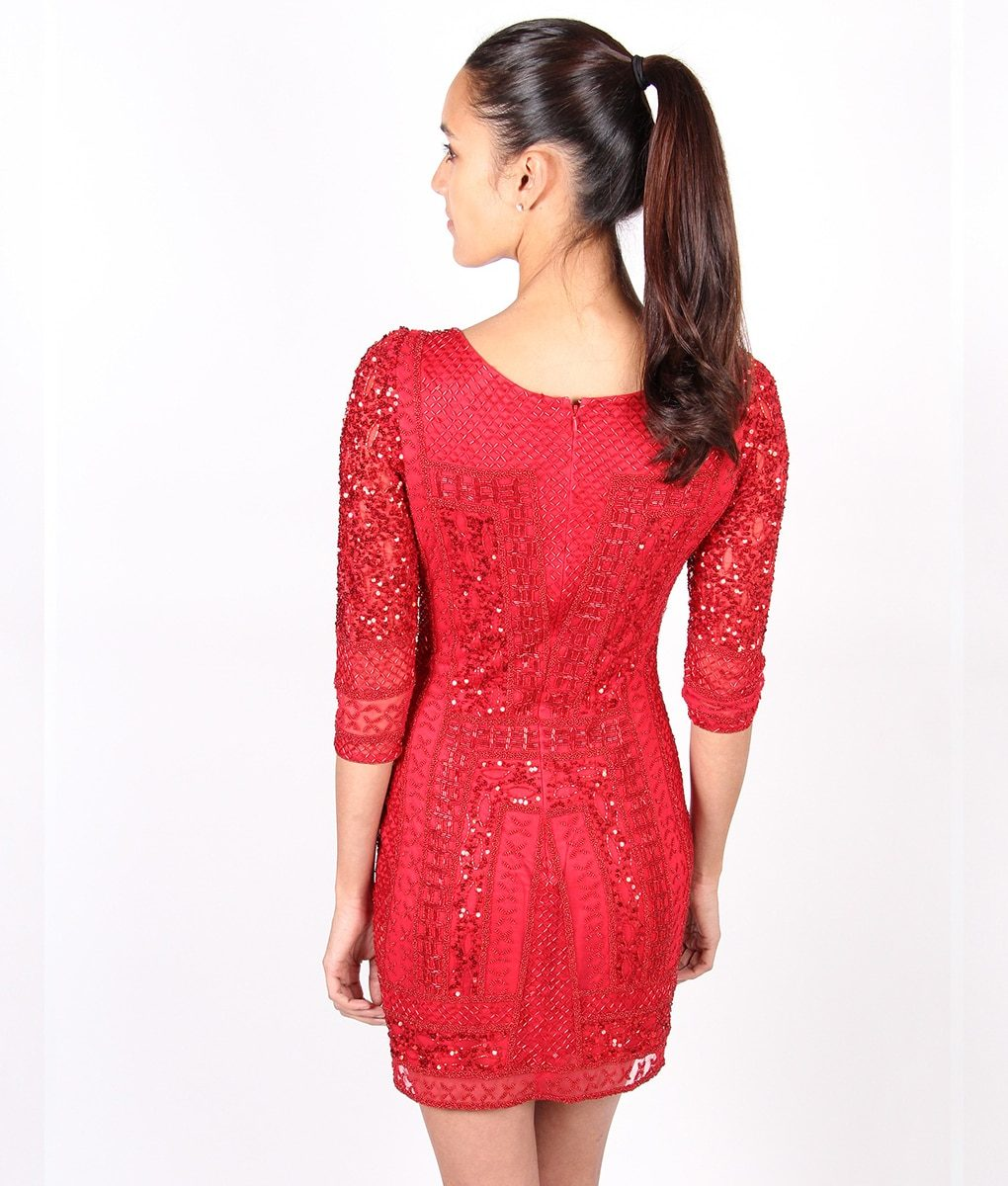 Alila-Red-Long-sleeve-Sequin-dress-by-Scala-back